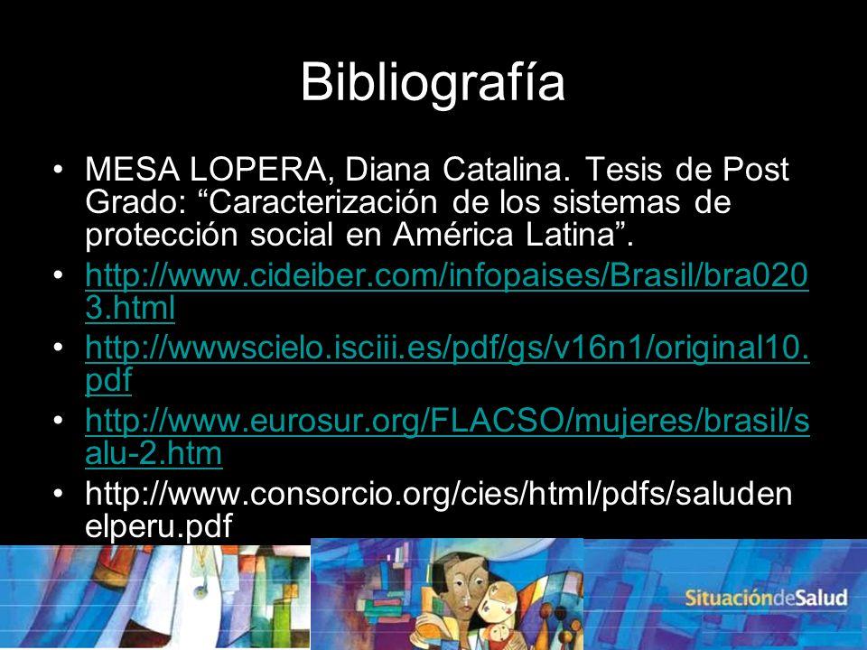 Bibliografía MESA LOPERA, Diana Catalina. Tesis de Post Grado: Caracterización de los sistemas de protección social en América Latina .