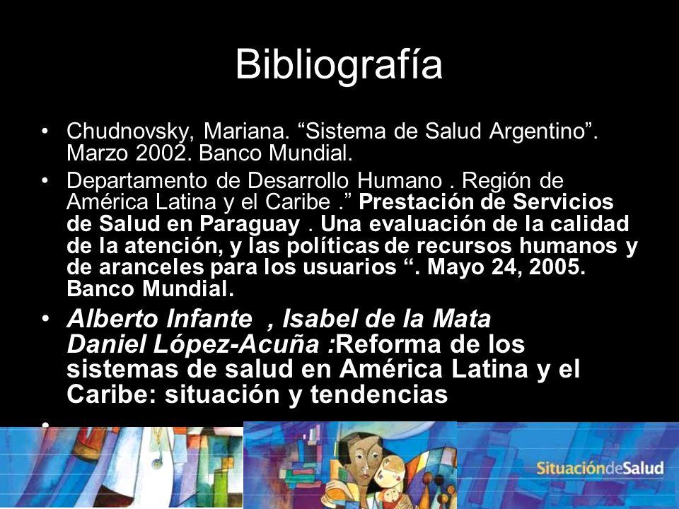 Bibliografía Chudnovsky, Mariana. Sistema de Salud Argentino . Marzo 2002. Banco Mundial.