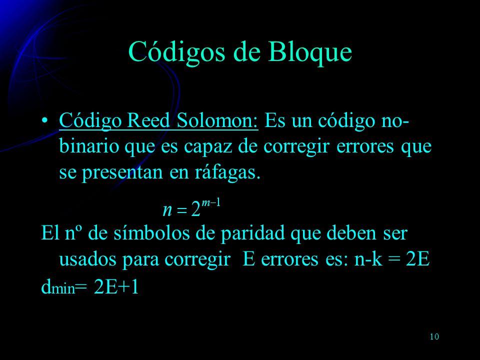 Códigos de Bloque Código Reed Solomon: Es un código no-binario que es capaz de corregir errores que se presentan en ráfagas.