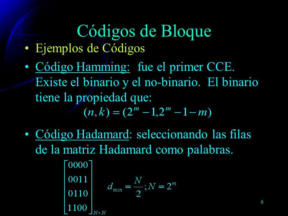 Códigos de Bloque Ejemplos de Códigos