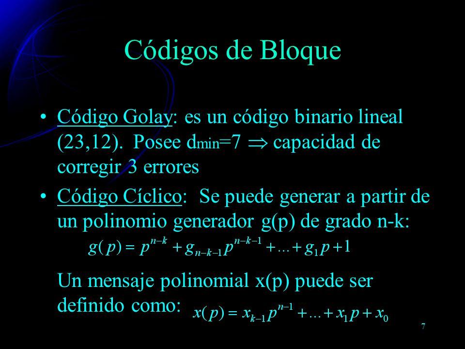 Códigos de Bloque Código Golay: es un código binario lineal (23,12). Posee dmin=7  capacidad de corregir 3 errores.