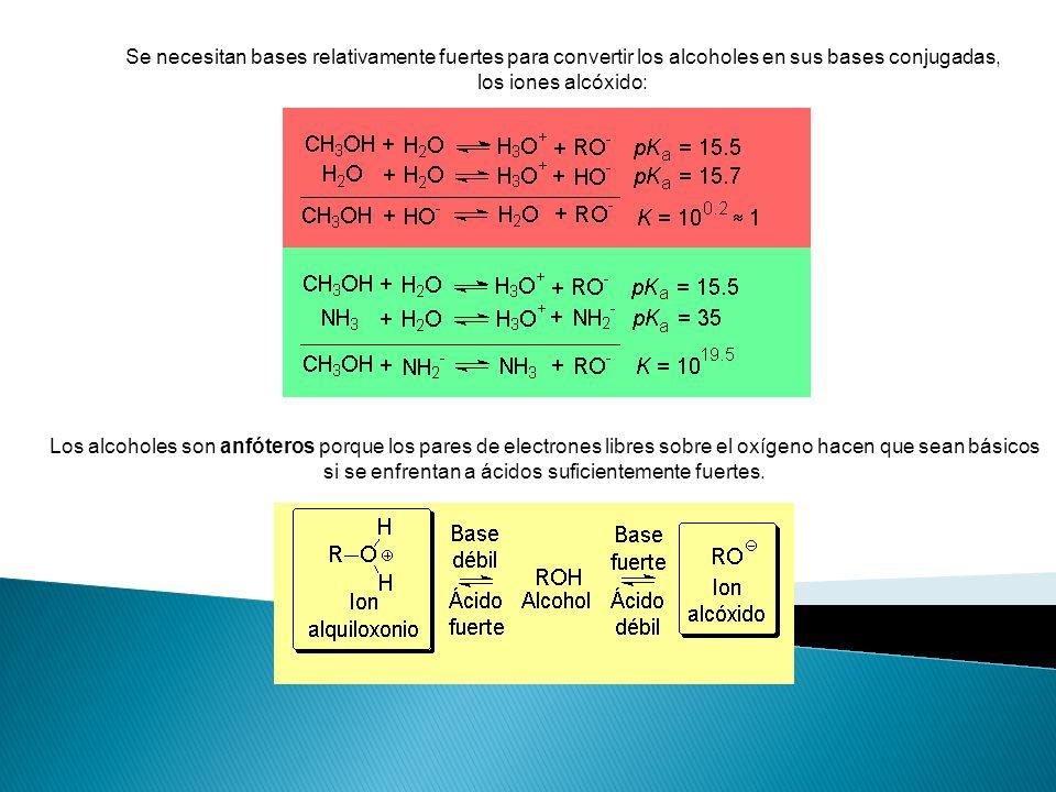 Se necesitan bases relativamente fuertes para convertir los alcoholes en sus bases conjugadas, los iones alcóxido: