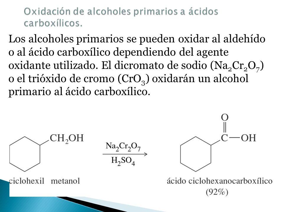 Oxidación de alcoholes primarios a ácidos carboxílicos.