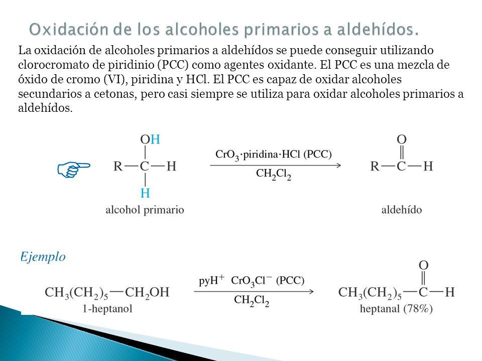 Oxidación de los alcoholes primarios a aldehídos.