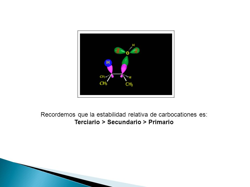 Recordemos que la estabilidad relativa de carbocationes es: Terciario > Secundario > Primario.