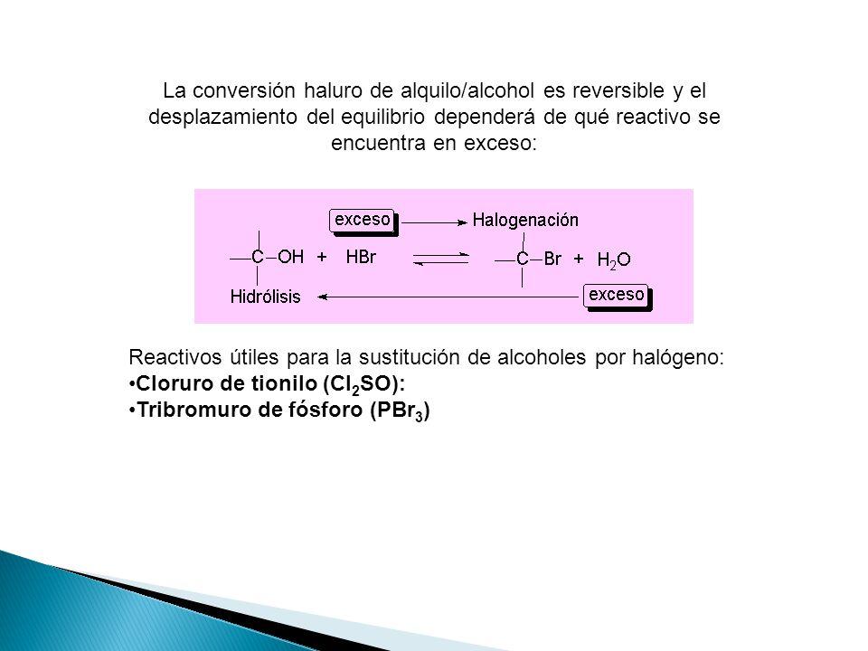 Reactivos útiles para la sustitución de alcoholes por halógeno: