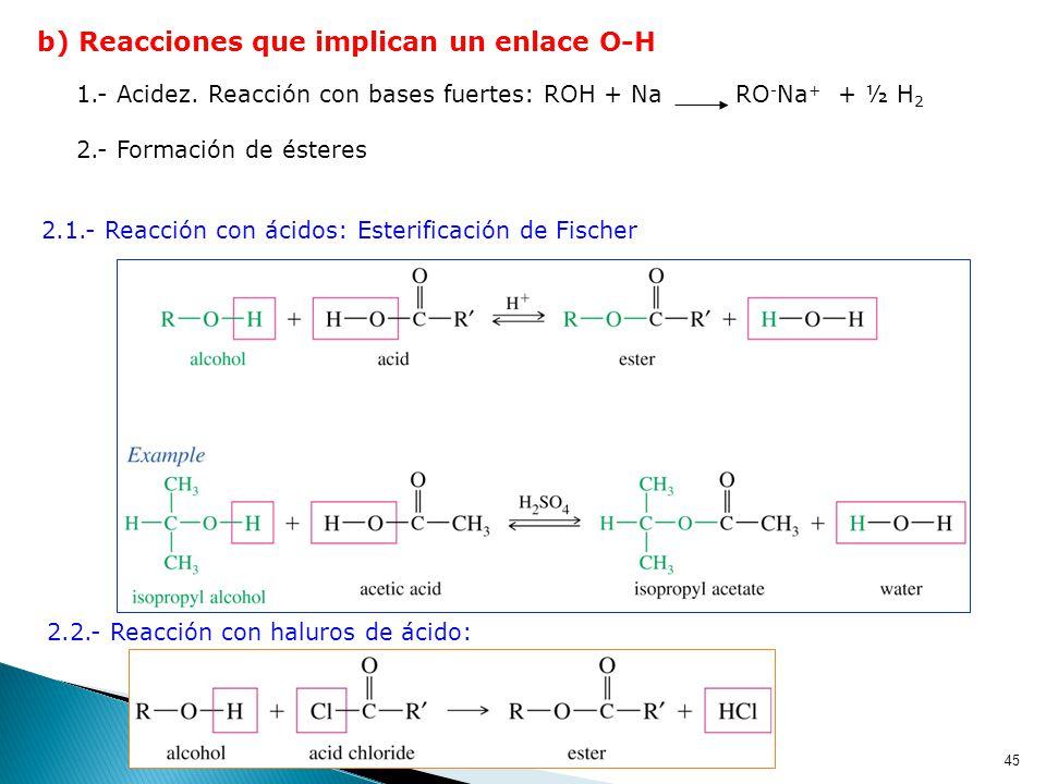 b) Reacciones que implican un enlace O-H