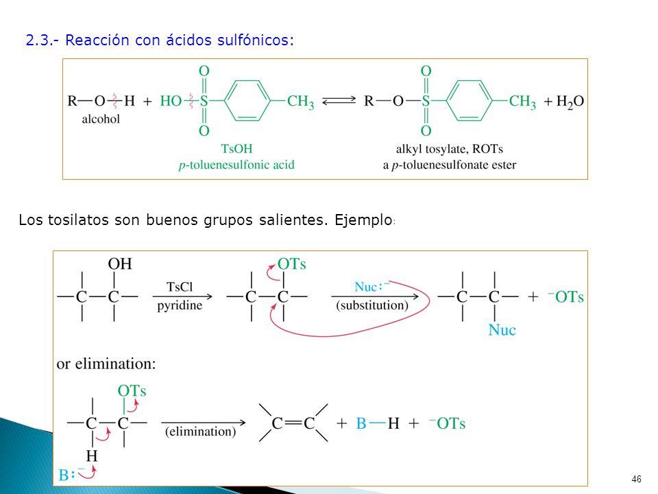 2.3.- Reacción con ácidos sulfónicos: