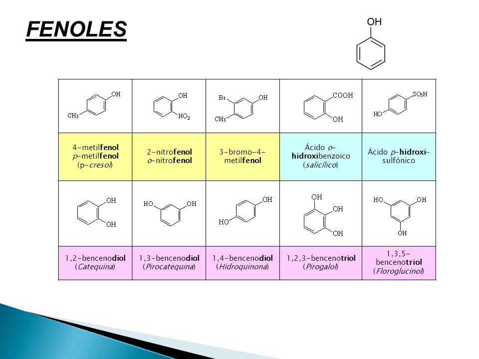 FENOLES 4-metilfenol p-metilfenol (p-cresol) 2-nitrofenol o-nitrofenol