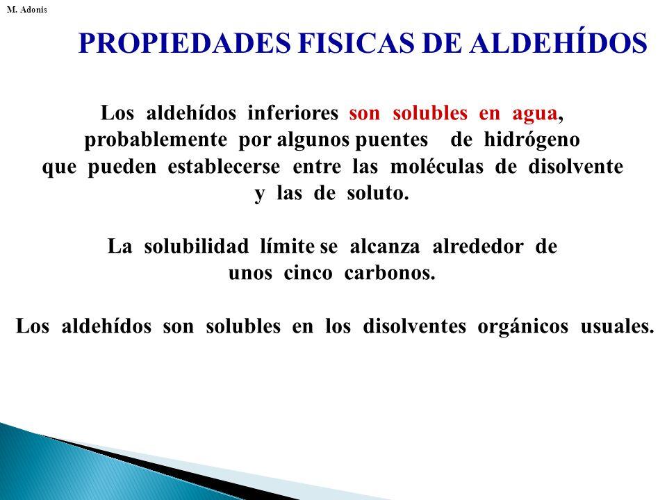 PROPIEDADES FISICAS DE ALDEHÍDOS