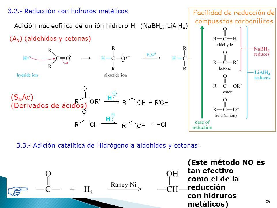 Facilidad de reducción de compuestos carbonílicos