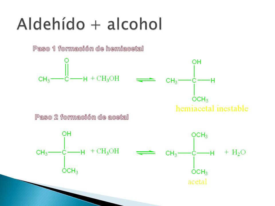 Aldehído + alcohol Paso 1 formación de hemiacetal