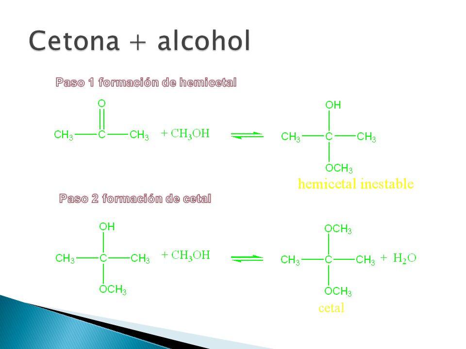 Cetona + alcohol Paso 1 formación de hemicetal