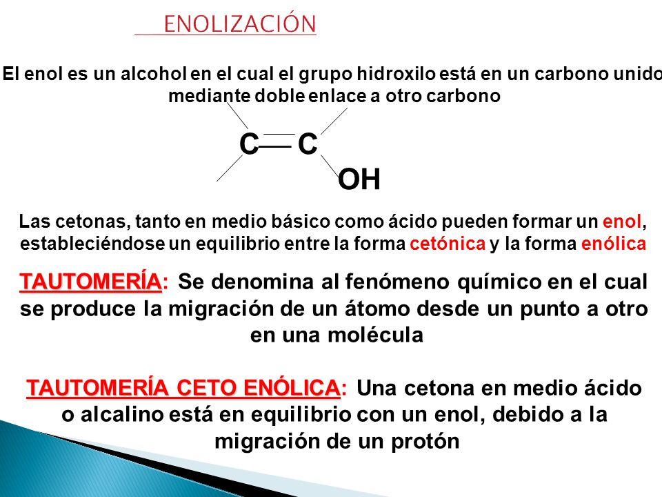 ENOLIZACIÓN El enol es un alcohol en el cual el grupo hidroxilo está en un carbono unido. mediante doble enlace a otro carbono.