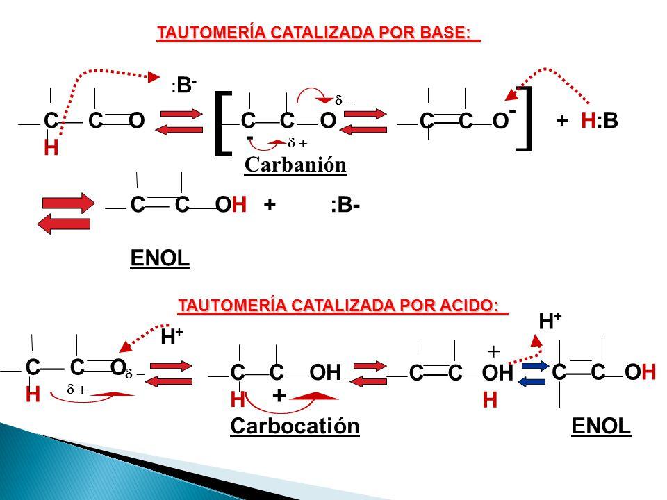   + CC O - CC O + H:B C C O H C C OH + :B- ENOL Carbanión H+