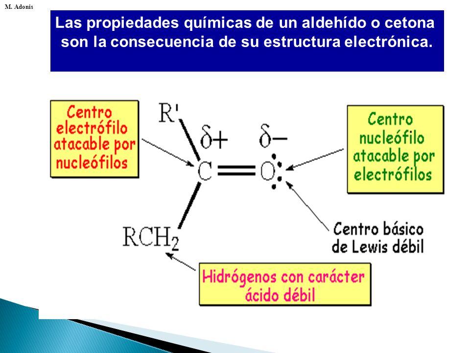 Las propiedades químicas de un aldehído o cetona