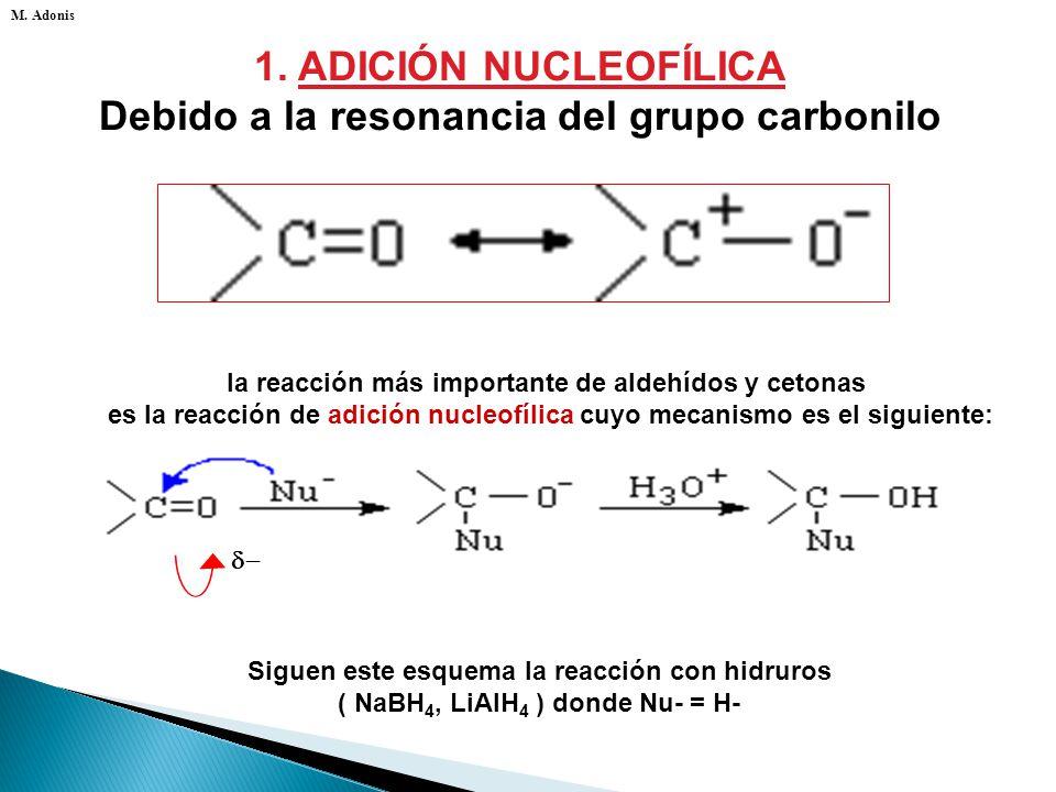 1. ADICIÓN NUCLEOFÍLICA Debido a la resonancia del grupo carbonilo