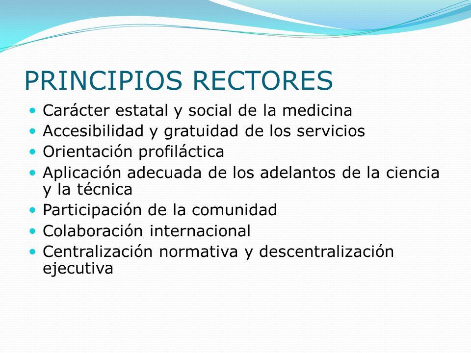 PRINCIPIOS RECTORES Carácter estatal y social de la medicina