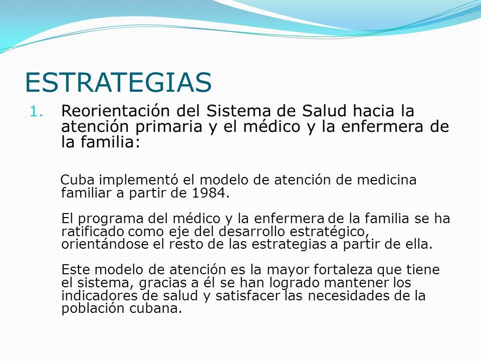 ESTRATEGIAS Reorientación del Sistema de Salud hacia la atención primaria y el médico y la enfermera de la familia: