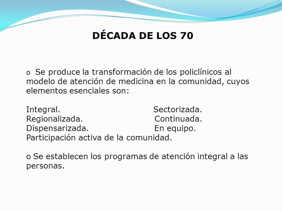 DÉCADA DE LOS 70 Integral. Sectorizada. Regionalizada. Continuada.