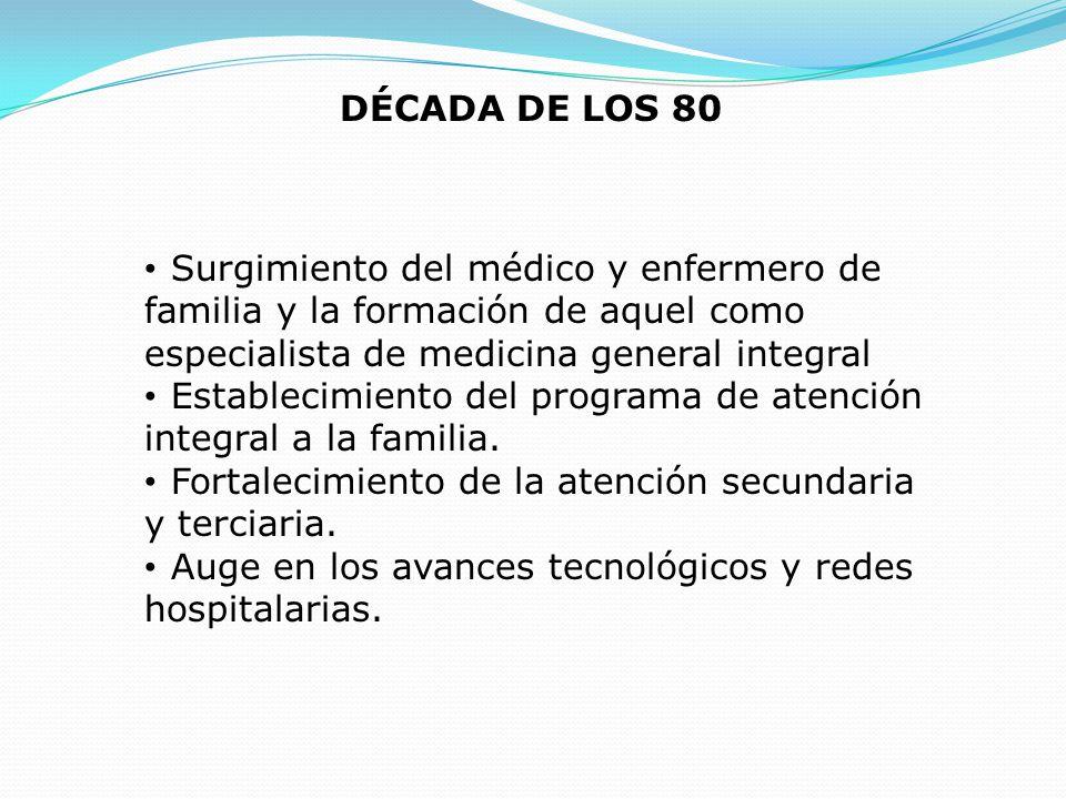 DÉCADA DE LOS 80 Surgimiento del médico y enfermero de familia y la formación de aquel como especialista de medicina general integral.