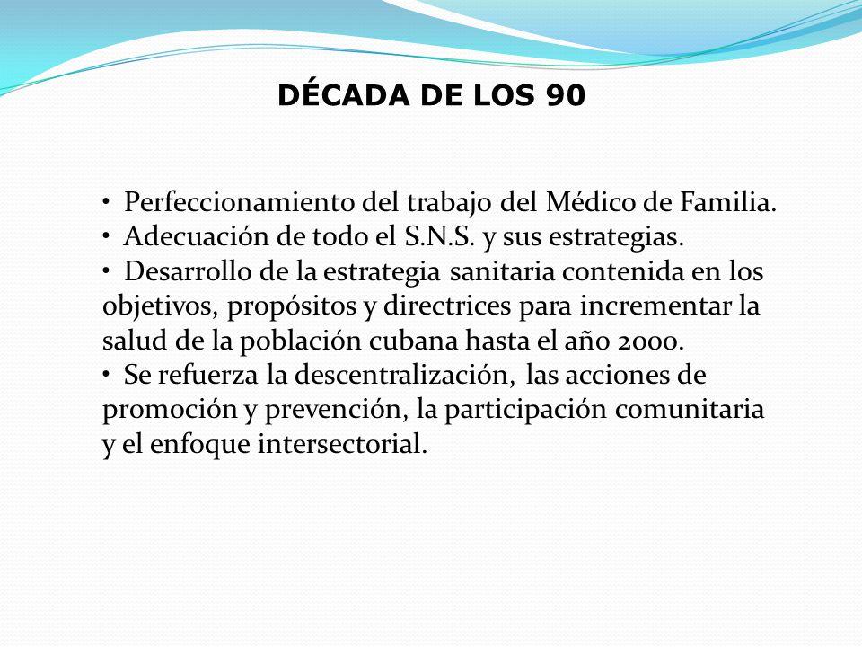 DÉCADA DE LOS 90 Perfeccionamiento del trabajo del Médico de Familia. Adecuación de todo el S.N.S. y sus estrategias.