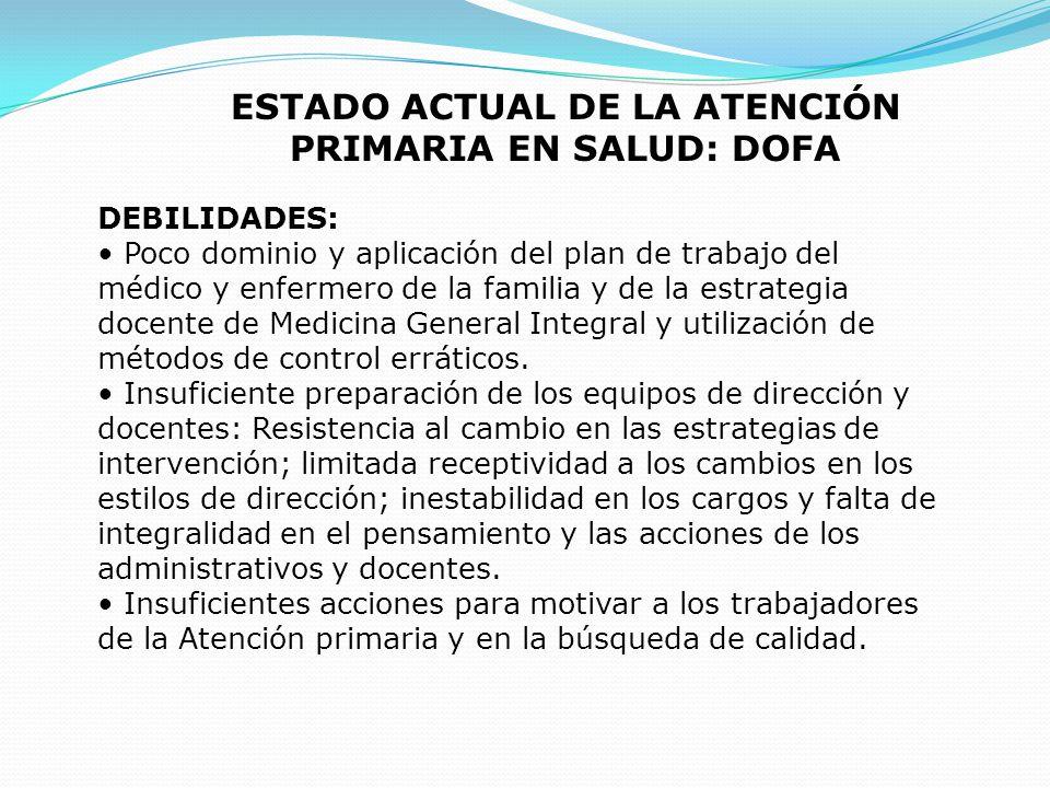 ESTADO ACTUAL DE LA ATENCIÓN PRIMARIA EN SALUD: DOFA