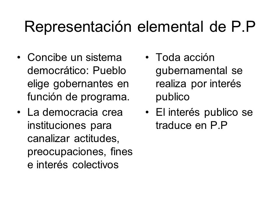 Representación elemental de P.P