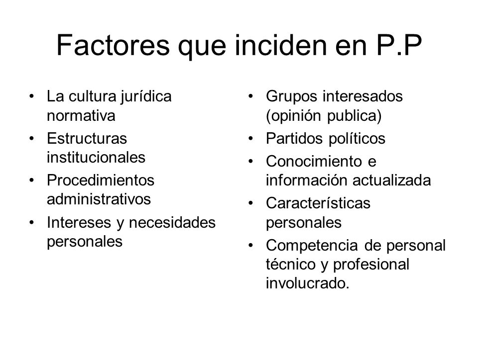 Factores que inciden en P.P