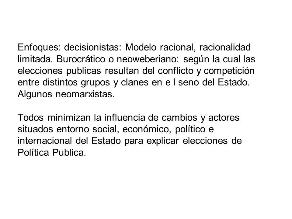 Enfoques: decisionistas: Modelo racional, racionalidad limitada
