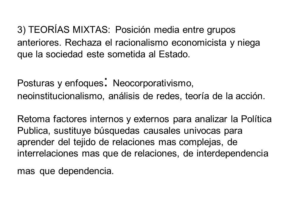 3) TEORÍAS MIXTAS: Posición media entre grupos anteriores