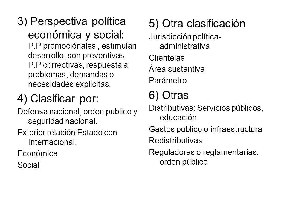 3) Perspectiva política económica y social: P