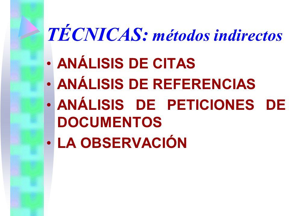 TÉCNICAS: métodos indirectos