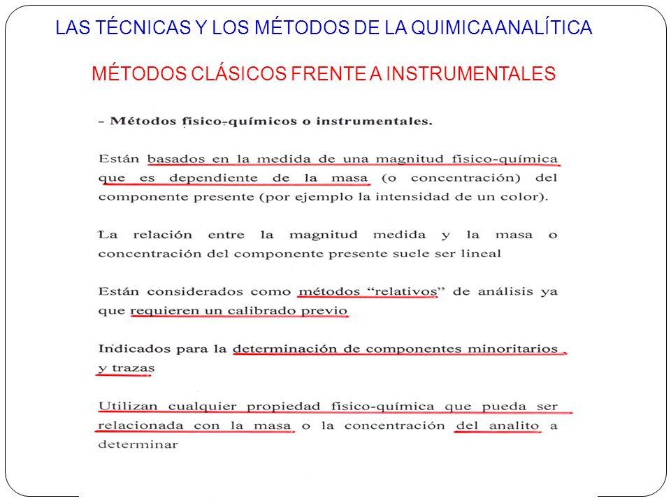 LAS TÉCNICAS Y LOS MÉTODOS DE LA QUIMICA ANALÍTICA
