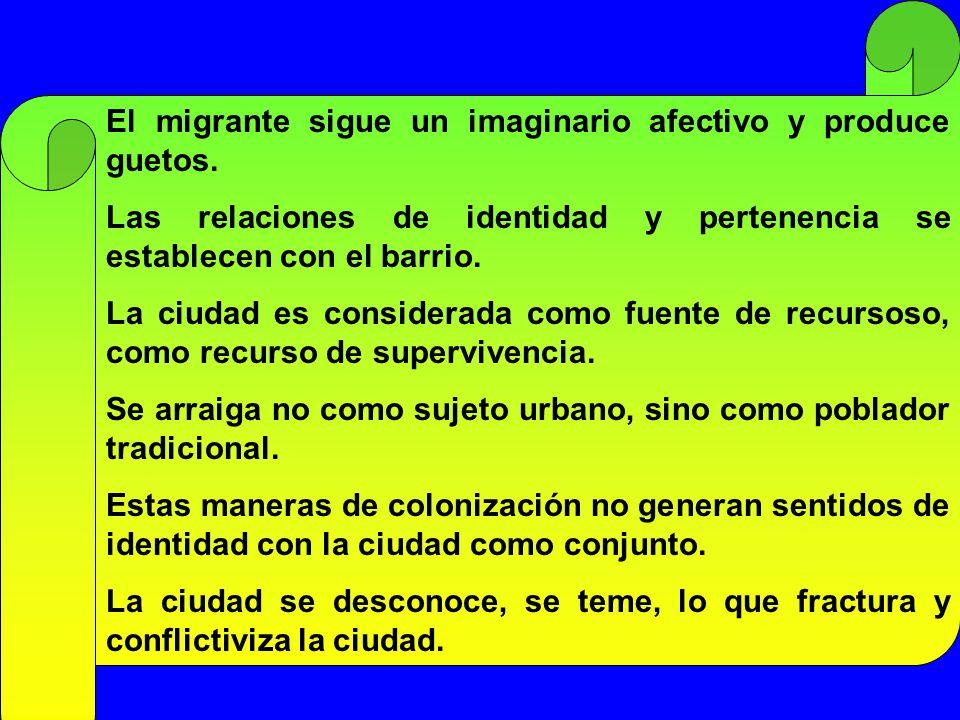 El migrante sigue un imaginario afectivo y produce guetos.