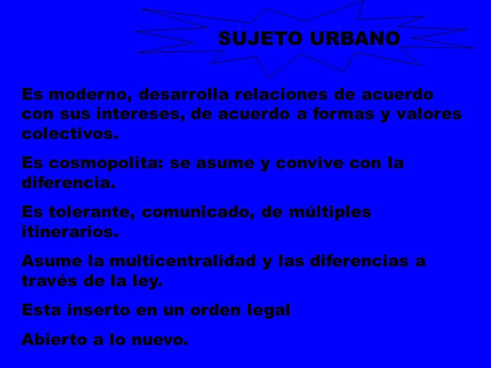 SUJETO URBANO Es moderno, desarrolla relaciones de acuerdo con sus intereses, de acuerdo a formas y valores colectivos.