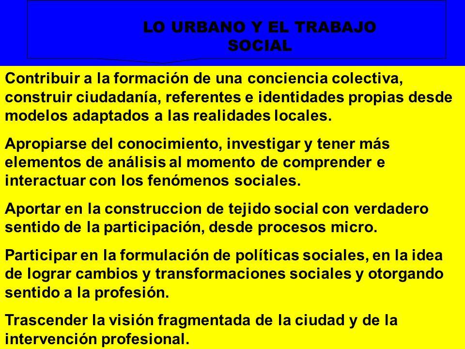 LO URBANO Y EL TRABAJO SOCIAL