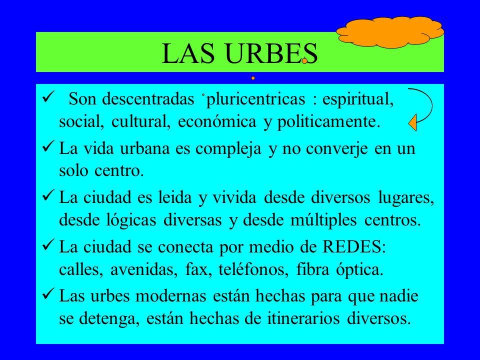 LAS URBES Son descentradas pluricentricas : espiritual, social, cultural, económica y politicamente.
