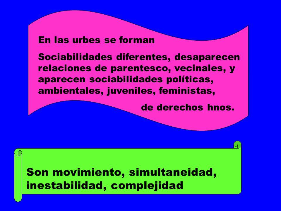 Son movimiento, simultaneidad, inestabilidad, complejidad