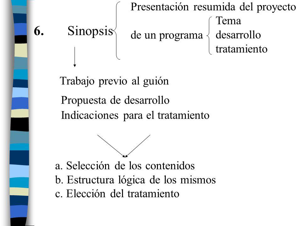6. Sinopsis Presentación resumida del proyecto de un programa Tema