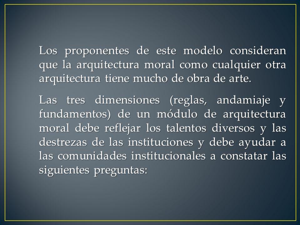 Los proponentes de este modelo consideran que la arquitectura moral como cualquier otra arquitectura tiene mucho de obra de arte.