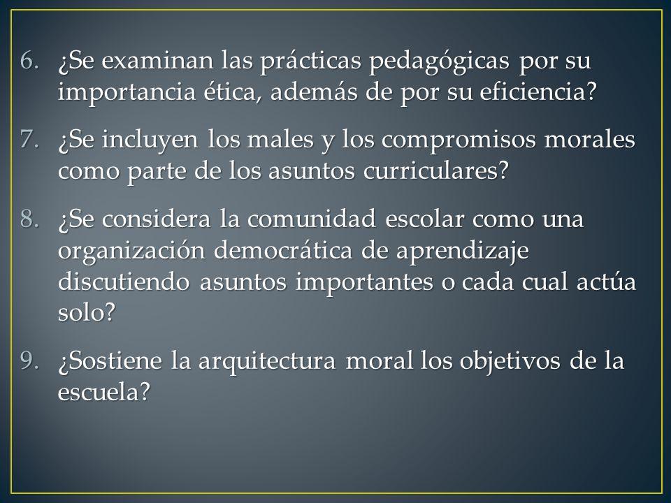 ¿Se examinan las prácticas pedagógicas por su importancia ética, además de por su eficiencia