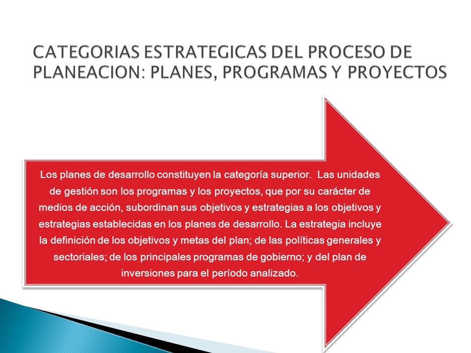 CATEGORIAS ESTRATEGICAS DEL PROCESO DE PLANEACION: PLANES, PROGRAMAS Y PROYECTOS