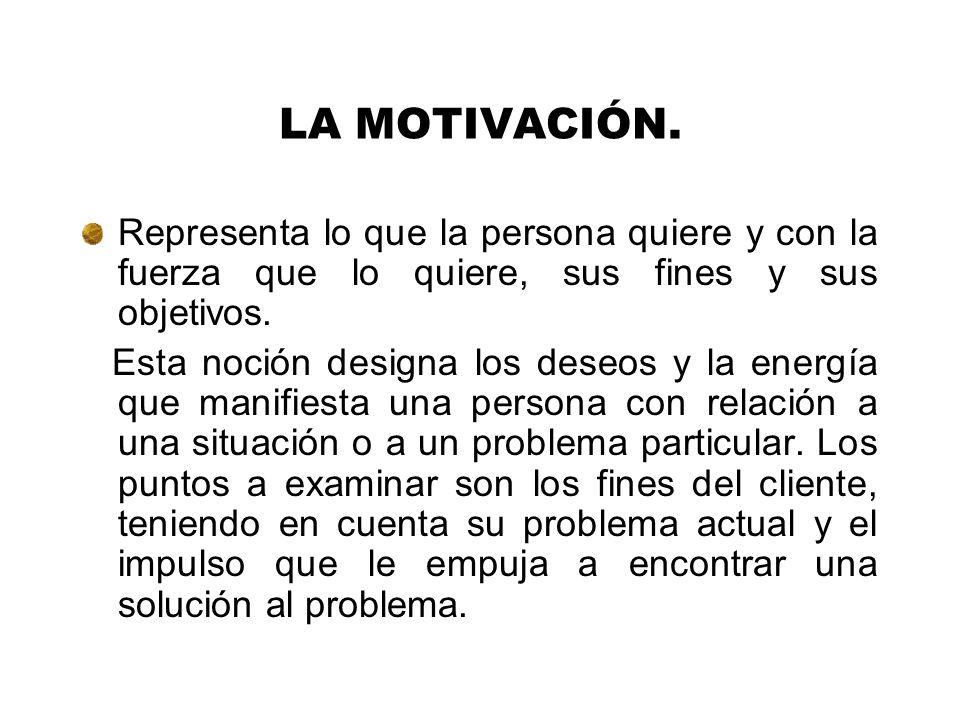 LA MOTIVACIÓN. Representa lo que la persona quiere y con la fuerza que lo quiere, sus fines y sus objetivos.