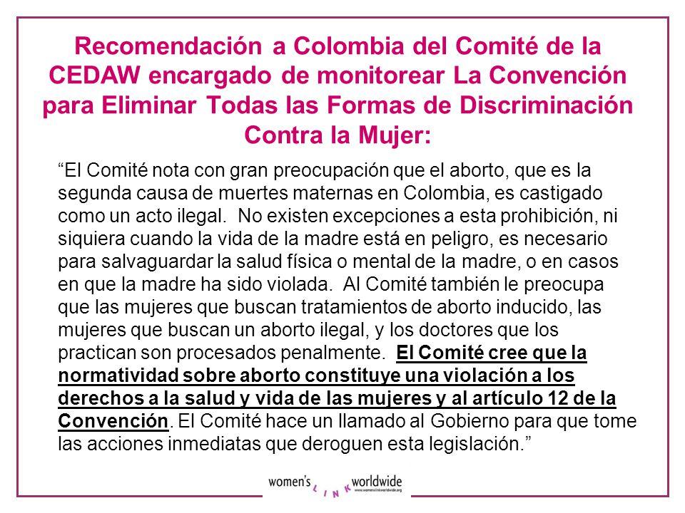 Recomendación a Colombia del Comité de la CEDAW encargado de monitorear La Convención para Eliminar Todas las Formas de Discriminación Contra la Mujer:
