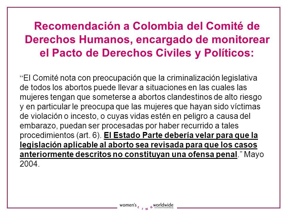 Recomendación a Colombia del Comité de Derechos Humanos, encargado de monitorear el Pacto de Derechos Civiles y Políticos: