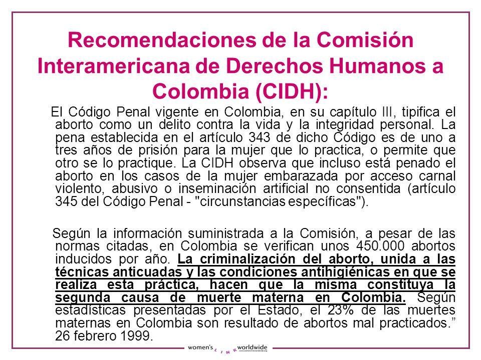 Recomendaciones de la Comisión Interamericana de Derechos Humanos a Colombia (CIDH):