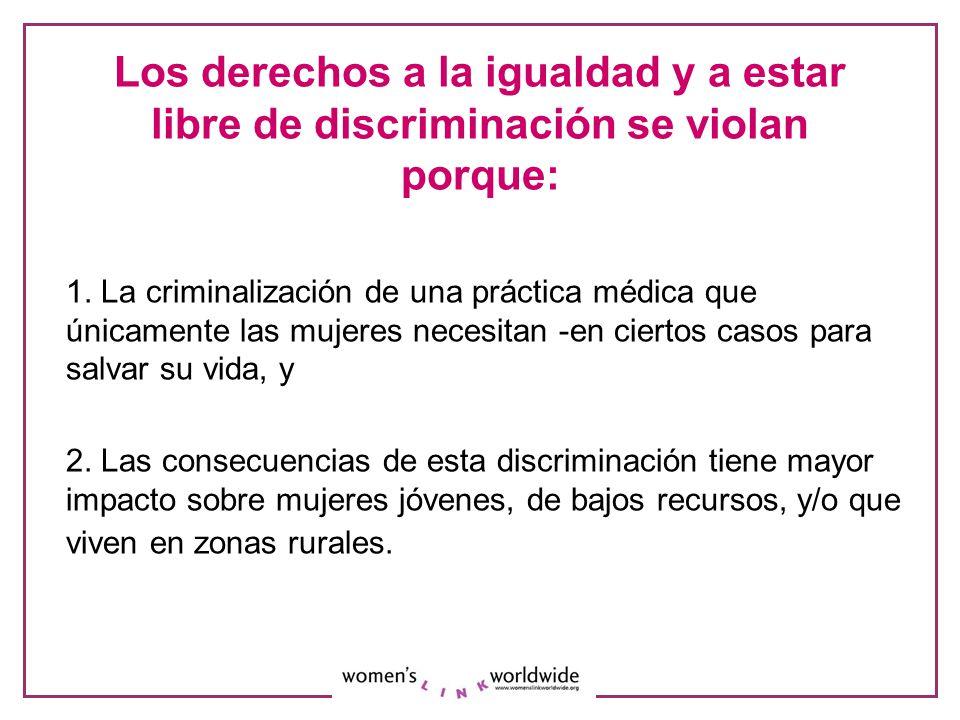 Los derechos a la igualdad y a estar libre de discriminación se violan porque: