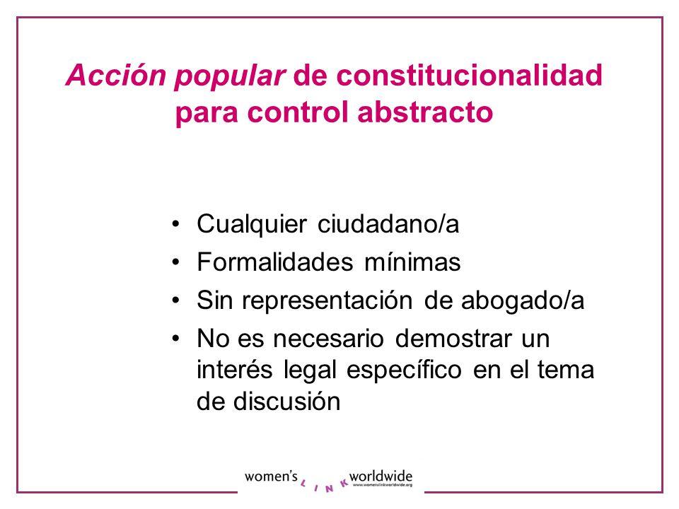 Acción popular de constitucionalidad para control abstracto