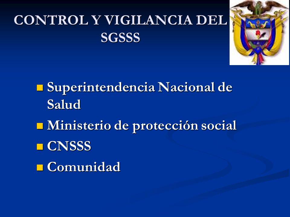 CONTROL Y VIGILANCIA DEL SGSSS